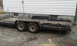 Car trailer for sale,18'-0 x 7'-3 plate deck with plywood down the centre.Welded channel construction double 3500 lbs axles comes with magnetic lights and tie down straps.Good working order,used all the time.Its in the driveway at 720 Hall St.