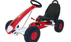 Kettler Race Aero Air Tire Pedal Car Pneumatic tubeless air tires on sealed ball bearings Dual rear wheel handbrake High carbon steel frame with fade resistant powder coat finish Coasting lever 3 position easy adjust high back racing seat Oversized,