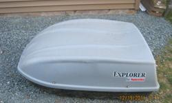 18 cubic foot Explorer brand car top carrier, complete with keys.  Being sold as is: missing 1 X U bracket - roof rack clamp (other 3 are there) and the front latch.  Other wise in very good condition.  $50.00 OBO.  Email or call 434-3147, located in