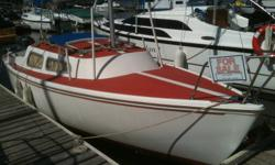 Easy to sail and a joy to relax on! Affordable, well kept, and roomy this craft comes with 7 sails including a beautiful red spinaker, a storm jib, 150% jib, 2 main sails, and 2 original jibs. She has a very healthy 7 year old 9.9 Johnson, all kinds of