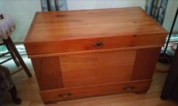 Nice cedar chest to store all your valuable clothes. L 36.5 inches W 19.5 H 25 email text or call