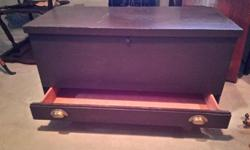 """Brown colored Cedar Chest/Trunk 38""""wide 17.5""""deep and 22""""high with a drawer, also has button to open when pressed, would make a great coffee table. Asking $150 can deliver for a small fee locally. Check out our other ads too."""