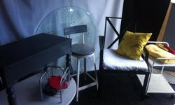Small cart with wheels, perfect for small spaces $32 Round bevelled glass 42 inch diameter. $60 Grey solid wood hallway bench L31 x W16 x H 20 $58 Silver bookcase $12 Metal white stool H24 $34 Set of four outdoor chairs. $70 SOLD