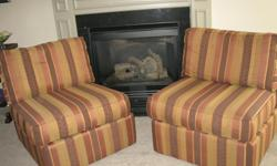 Pier 1 Slipper chairs with 3 cushions. Good condition! Lamps have similar striped pattern. Chairs can be pushed together like a loveseat.