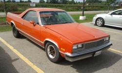 HI THERE UP FOR SALE IS A 1982 Chevrolet El Camino WITH REBUILT V8 350 NEW TRAN ,NEW GAS TANK,BRAKES,NEW REAR BUMPER,,HAS AIR CONDITIONING,CRUISE, RALLY WHEELS,,LEATHER SEATS,CAR NEEDS TLC ON THE BODY BUT EASY FIX EX CRUISER FOR SUMMER ASKING 5500. CASH