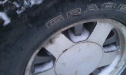"""I am selling 4 15"""" chevy/GM 5 bolt rims with general grabber tires, rubber Is in great shape 90% tread left! Great for winter! Call for details, must sell! $600 obo 780-522-6047 This ad was posted with the Kijiji Classifieds app."""