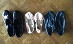 For sale are: $10 1 pair of jazz shoes (size Jz 10 or about a size 1) $5 1 pair of ballet shoes (size 12) **The tap shoes have sold**