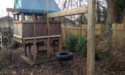 Free play structure with tire swing You move it and it is yours Space under house can be made into sand box Includes tire swing and climbing rope Needs a new 'roof' House dimension 5' x 6.5' Height 9.5' (roof peak) Tire swing extension 9' Total space