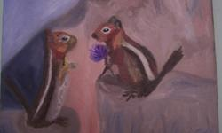 Chipmunks in Love, Canvas Painting, 11x14 Local Artist in the Glebe Egdes are Painted Ready to hang and enjoy