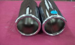 """2- chrome exhaust tips, 2"""" ID, these can be welded or bolted on. THESE TIPS ARE BRAND NEW. asking 40.00 for the pair. email or call 705-789-9351"""