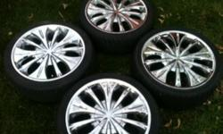 Great condition, chrome mazzi rims, 205/40/ZR17. Bolt pattern is 8x100mm. They came off of a older acura with a 4 bolt pattern. 2 of the tires have 80% tread and are Hercules Raptis tires. The other 2 tires are Firelli and Supersport and have 60% tread.