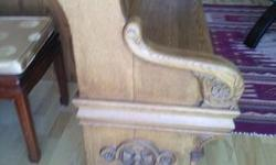 Antique church pew 57 inches long 39 inches heigth beautiful carving on the ends