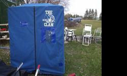 Clam brand portable ice fishing shelter . Top quality unit, quick and easy pop up . Suitcase style, 3-4 man size opens to 60 x 72 base. Folds into to 30 x 72 x10 plastic sleigh for moving and storage. There also a ice auger. LIKE TO SELL TOGETHER, pls
