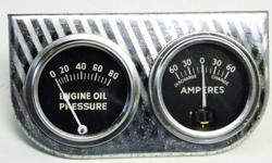 Classic Vintage dash gauges Oil Pressure 80 LB, Ammeter 60-060, Mounted on chrome panel Size 2 1/8 inches, Made by O.E.M Product Co. Out of Chicago 30, lll, appeared in working condition,some rust marks on gauge panel not bad. This is from late 50's to