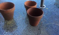 Assorted size 3 inch to 6 inch approx used clay pots About 8 to pots