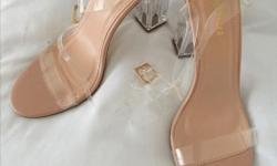 Fashionova Clear block heeled sandals with rose gold details and clear straps Posted with Used.ca app