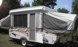 I have a 2007 10ft Coachman tent trailer for sale. It has 2 propane tanks and a 3way fridge. It has a furnace that works very good. Sink can run off of city water or fresh water tank under the trailer. 3 burner stove lots of storage and it can sleep 7.