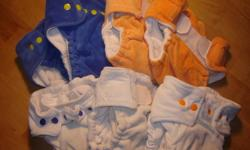 7 cotton velour homemade cloth diapers. Ages 6-18 months. Very adjustable. Comes with 6 outer shells, 4 of which are adjustable and two are not. Shells can be used for more than one soiling. Loved these diapers!