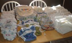 7 small and 7 medium Bummies wraps, 24 Bummies inserts with 2 snappies($175), 6 Nikkin covers and 30 cotton inserts with velcro ($20), 5 large and 2 small Kooshie Diapers ($30). Or take all for $200. Will accept offers.