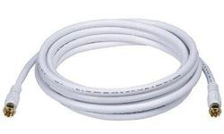 Coaxial cables white with connectors: 13 feet and 18 feet long Perfect for connecting TV, Satellite, Cable box, games ... 2 lengths available (13 feet and 18 feet). $5 each