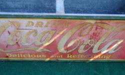 """coco-cola cooler box from the 50 size is 60""""L x 24""""w x 20""""H metal on all four side of the box with  coca cola signs on it very heavy duty asking $200 -Serious buyer only Visits: 48 Visits: 48"""