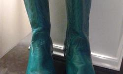All leather turquoise or fuchsia Code West Cowboy Boots with pointed toe, mid calf pull up. Made in USA. Size 6 Excellent Condition only worn a few times. Asking $80