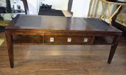 Coffee table in good condition with minor scratches. Asking $160, OBO Product Dimensions: Width: 46'' Height: 18'' Length: 20'' Unique Features: Long, lean legs and a slightly stepped top offer a hint of retro character. On the tabletop, the leather-like