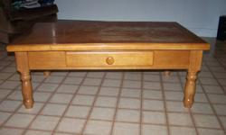 heavy solid oak finish coffee table -table.