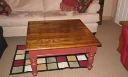 """Solid Oak Coffee Table   Measures 3' X 3""""  No longer have room for this beautiful  table"""