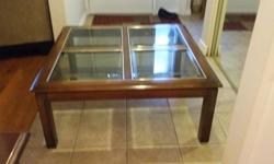 "Wooden Coffee Table with glass inserts 38"" x 38"" In good condition"