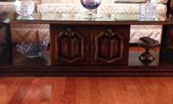 Solid wood, all matching. All three have glass tops included Excellent used condition Must pick up