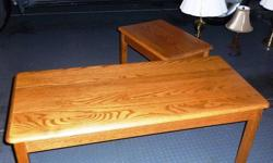 Solid oak coffee table & matching end table.  Excellent Condition.