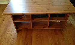 Coffee Table with 6 identical open drawers (12 in x 7 in with 23 in deep), Excellent condition, No scratch or damage as good as new, Solid Pine Wood, Dimension: 47 in (Length) X 23 in (Depth) X 21 in (Height) Price $100 Call Basak 613-878-7043 (Cell)
