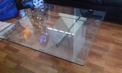 """36""""x36"""" Glass top, sculpted square marble base. Great shape email to inquire"""