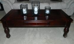 Cherry colored coffee tables in good condition. Includes One main coffee table and Two side tables.