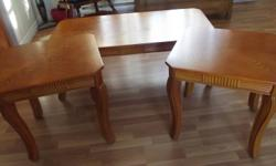 For Sale. Coffee Table (47''x 24'') and 2 matching end tables (20''x22''). Hardwood.. approx 3 yrs old. Very good condition. One end table has a very small spot on it where I spilled a little nail polish.  Asking $125.00 OBO. Hebbs Cross area.