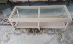 Glass coffee table with 2 glass end table. Selling as a set part of an estate sale asking $110
