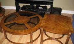 """Set of 3 Coffee tables , and or side table , round ones are 38"""" and 25"""" in diameter the square one is 25 """" . very good cond. will sell separate . 604-607-3001"""
