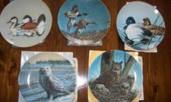 """'The Great Horned Owl"""" - Plate #2977C  $10.00   """"The Snowy Owl"""" - Plate #2297E  $10.00   The Federal Duck Stamp """"The Lesser Scaup""""  Plate Collection, 1980-1989 Plate #3553B $10.00   The Federal Duck Stamp """"The Ruddy Ducks"""" Plate Collection, 1981-1982"""