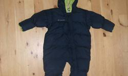 Navy with green trim Columbia 1 piece size 24 months snowsuit. The feet & hands have 'flip mitts'. Excellent condition.
