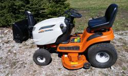 """Columbia(Cub Cadet) 22HP Lawn Tractor c/w 2 stage snow blower. 42"""" mower deck. Hydrostatic drive. Starts and runs great. Only 226 hours."""