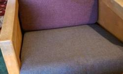 Chair Foam is in great shape as well as fabric. Comfy chair. Refinish wood if you want.