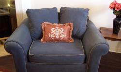 """Selling my comfy large blue sofa chair. It is overall in good condition. VERY comfortable. Great to relax in. The cushions have just been washed. No stains, no rips. Nonsmoking home. The red cushion is not for sale. Measures 51"""" wide x 37""""deep x 34"""" high."""