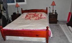 Complete bedroom set all made from solid wood including Queen bed, 2 night tables, dresser, desk with computer station, Sony television with stand, all in excellent condition. Almost new Sealy Posturepedic Queen Mattress.  Call Joel 705-684-9150  or cell