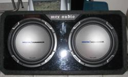 "- Alpine CDA-7894 in dash cd player, mp3 playback, xm ready, sub control adjustment and remote control  60w x 4   - 2 12"" MTX Jackhammer Subs in Box  800 W RMS 1600 W Peak   - NEW MTX Jackhammer Class D 600 W Amp    600 W RMS 1200 W Peak   Aslo system"
