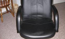 """This computer desk and chair is in perfect condition. Desk is custom made. No scratches and has a keyboard shelf. Chair is """"as new"""". Easy glide castors."""