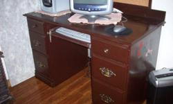 For Sale: Real wood computer desk. Comes with a top piece if you want it (free). Phone 780-835-5476 Fairview