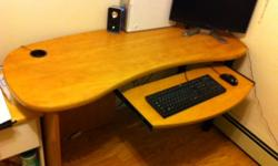 Large Laminate and Wood Finished Computer Desk Is in great shape and has no physical warps or abnormalities. Disassembled, however very easily put back together. Getting Rid of because there is not enough space in my small apartment. Feel free to email me