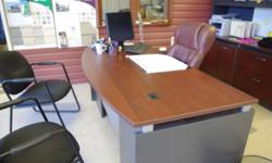 RED CHERRY WOOD OFFICE DESKS (2) LOCKING DRAWERS INCLUDES OFFICE CHAIRS(2) IF INTERESTED PLEASE CALL 705-566-3871