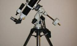 Up for sale is my computerized mount and telescope.  I have used this scope and mount for observing the night sky and to take pictures of the night sky using a DSLR camera attached to the top of the telescope. Included in this sale is - Sky-Watcher 100ED